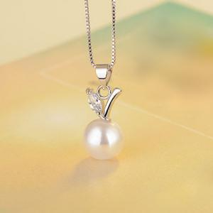 Faux Pearl Rhinestone Fruit Necklace -