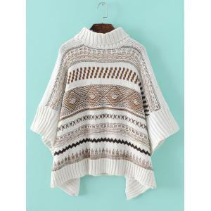 Tribal Pattern Asymmetrical Knitted Sweater -