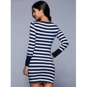 Long Sleeve Stripe Irregular Mini Bodycon T-Shirt Dress -