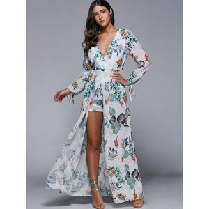 Plunging Neck Overlay Leaf Print High Slit Romper -