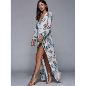 Plunging Neck Overlay Leaf Print High Slit Romper - WHITE S