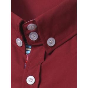 Turn-Down Collar Ethnic Style Pattern Splicing Button-Down Shirt - RED L