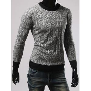 Letters Pattern Round Neck Long Sleeves Sweater -