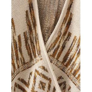 Rhombus Pattern Fringed Cardigan -