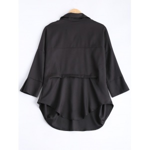 Loose Fit V Neck Asymmetric Blouse - BLACK L