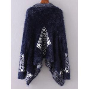 Asymmetrical Mohair Cardigan - PURPLISH BLUE ONE SIZE