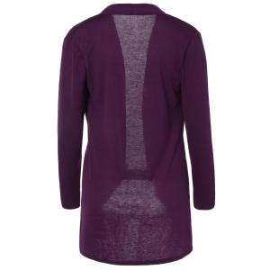 Slimming Collarless Coat - RED VIOLET XL