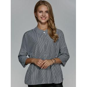 Striped 3/4 Sleeve Loose Fitting Blouse -