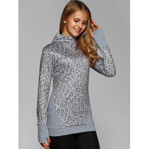 Cowl Neck Leopard Print Tee with Gloves - GRAY 2XL