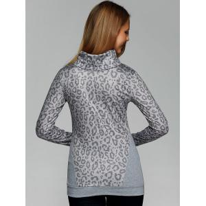 Cowl Neck Leopard Print Tee with Gloves -