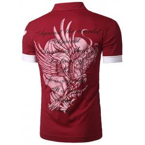 Spliced Design Eagle Print Short Sleeve Polo T-Shirt - RED 2XL