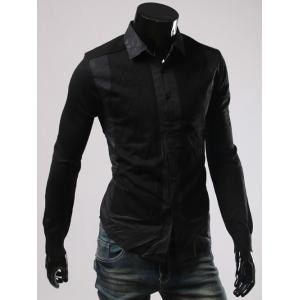 Turn-Down Collar Splicing Long Sleeve Shirt - BLACK 3XL