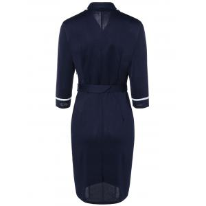 Navy Style Belted Bodycon Dress - NAVY BLUE 2XL
