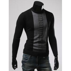 Color Splicing Round Collar Long Sleeve Sweater - BLACK 3XL