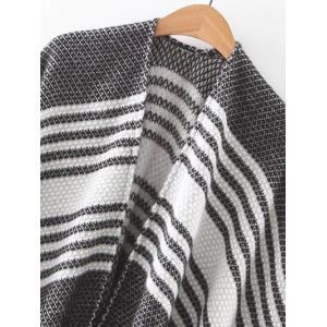 Fringed Striped Cape Cardigan -