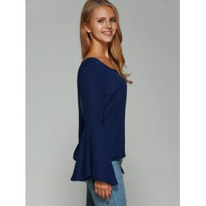 Bell Sleeve Backless Blouse - DEEP BLUE S
