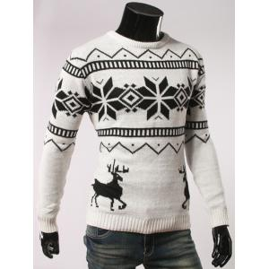 Fawn and Snow Pattern Round Collar Christmas Sweater - WHITE 2XL