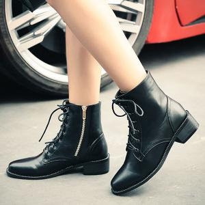 Lace-Up Square Toe PU Leather Combat Boots - BLACK 39