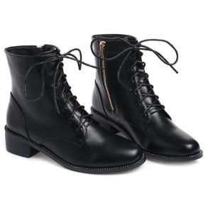 Lace-Up Square Toe PU Leather Combat Boots - BLACK 38