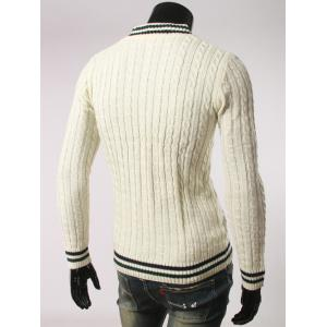 Stripes Pattern Cable Knit V Neck Sweater - WHITE 2XL