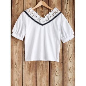 Lacework and Striped Braid Splicing Top -