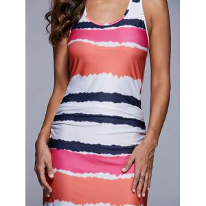 Ruched Multicolor Striped Maxi Dress -