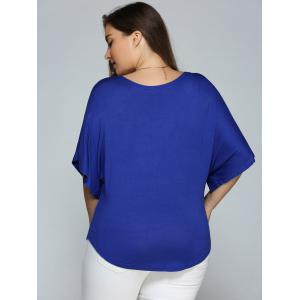 Plus Size Batwing Sleeve V Neck Top -