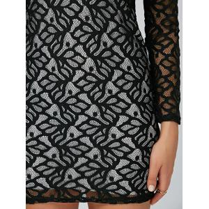 Tight Hollow Out Lace Club Short Dress - BLACK XL