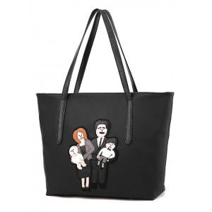 Cartoon Applique Nylon Tote Handbag -