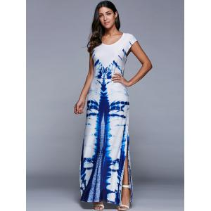 Scoop Neck Printed Side Slit Dress - WHITE XL