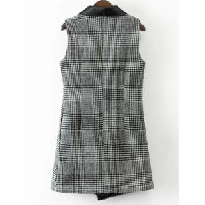One Button Houndstooth Waistcoat - WHITE/BLACK L