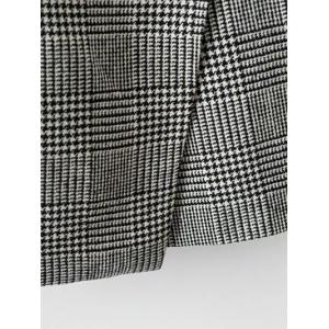 One Button Houndstooth Waistcoat - WHITE AND BLACK L