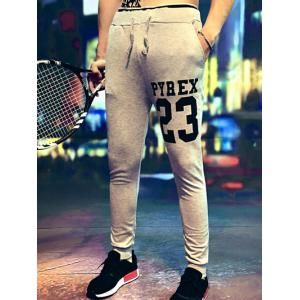 Number Print Lace-Up Jogger Pants -