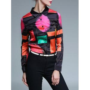 Retro Abstract Color Block Satin Shirt -