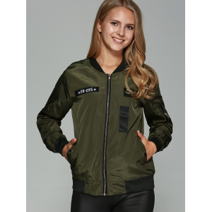 Patched Printed Bomber Jacket - ARMY GREEN 4XL