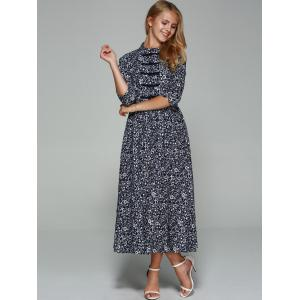 Chinese Button Floral Print Maxi Dress -