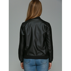 Faux Leather Zipper Design Bomber Jacket -