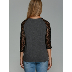 Lace Splicing Hollow Out T-Shirt -