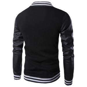 PU-Leather and Stripe Rib Splicing Stand Collar Jacket -