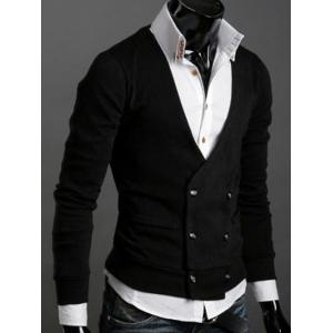 Long Sleeves Double-Breasted Cardigan - BLACK XL