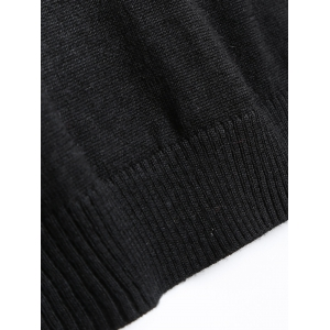Long Sleeve Jacquard Pullover Sweater - BLACK S
