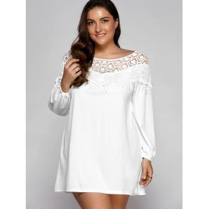 Plus Size Fringe Lace Splice Mini Shift Dress -