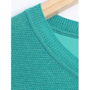 Casual Splicing Pullover Knitwear - LAKE BLUE M