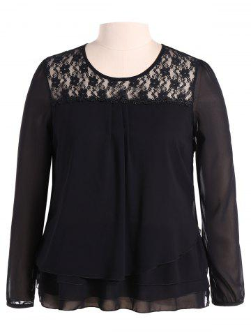 Latest Plus Size Lace Trim Long Sleeve Chiffon Blouse BLACK 4XL
