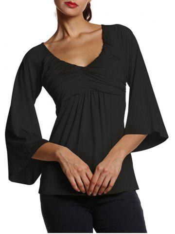 Trendy Bell Sleeve Slim  Fit Ruched Blouse