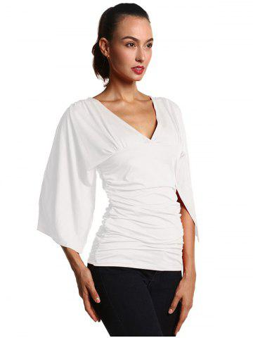 Shops Ruched Fitted Bell Sleeve Blouse - S WHITE Mobile