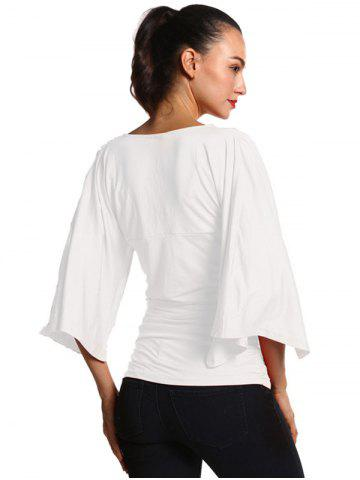 Affordable Ruched Fitted Bell Sleeve Blouse - S WHITE Mobile