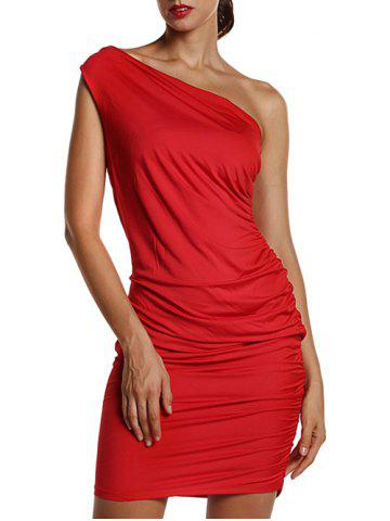 Online One Shoulder Ruched Sheath Dress