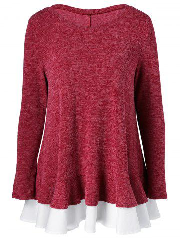 Discount Back Button Falbala Knitted Blouse