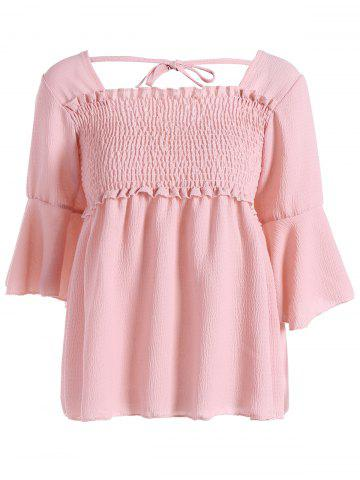 Trendy 3/4 Sleeve Shirred Chiffon Blouse